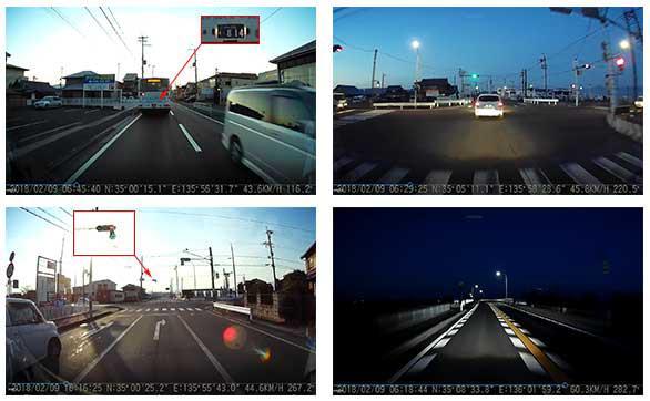 ドライブレコーダーの画像:かなりキレイな画像で、ナンバープレートや信号機の矢印もクッキリ。視野角も広く、交差点全体を把握できています。