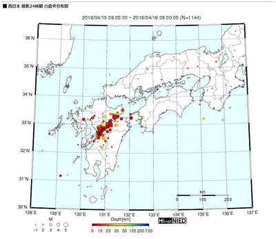 Hi-net自動処理震源マップ「西日本」
