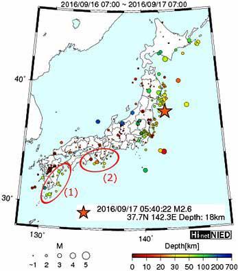 9月17日朝のHi-net高感度地震観測網の震央分布図