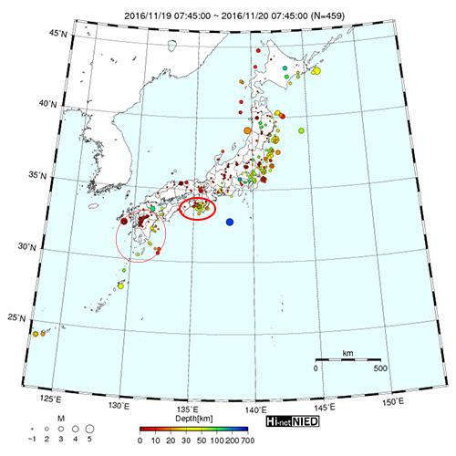 2016年11月19日7時45分から24時間の震源マップ(Hi-Netより転載)