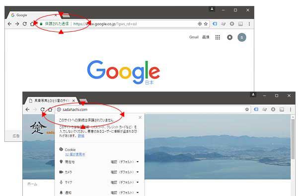 Googleの保護された通信と、このサイトの通信は保護されていませんと表示されている画面のコピー