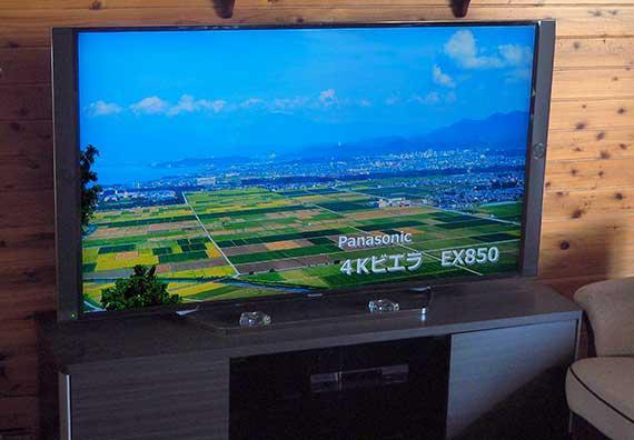 湖東の田園風景を写した画面の Panasonic 4Kビエラ(液晶)EX850